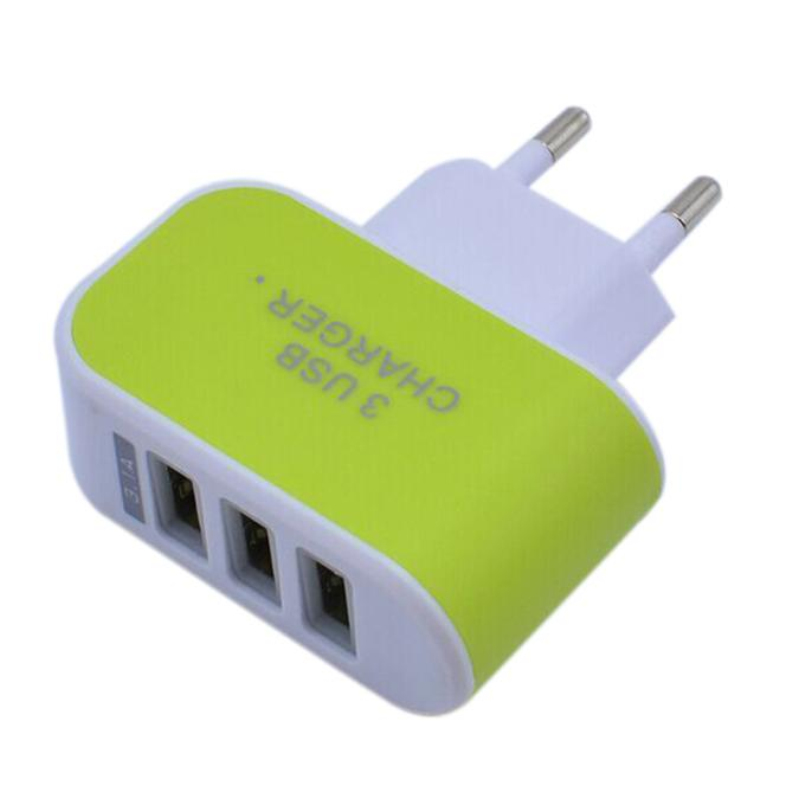 Hot-sale EU Plug Green 3.1A Triple 3 USB Port Wall Home Travel AC Charger Adapter For iphone & Android Phone Tablet 1 pc(China (Mainland))