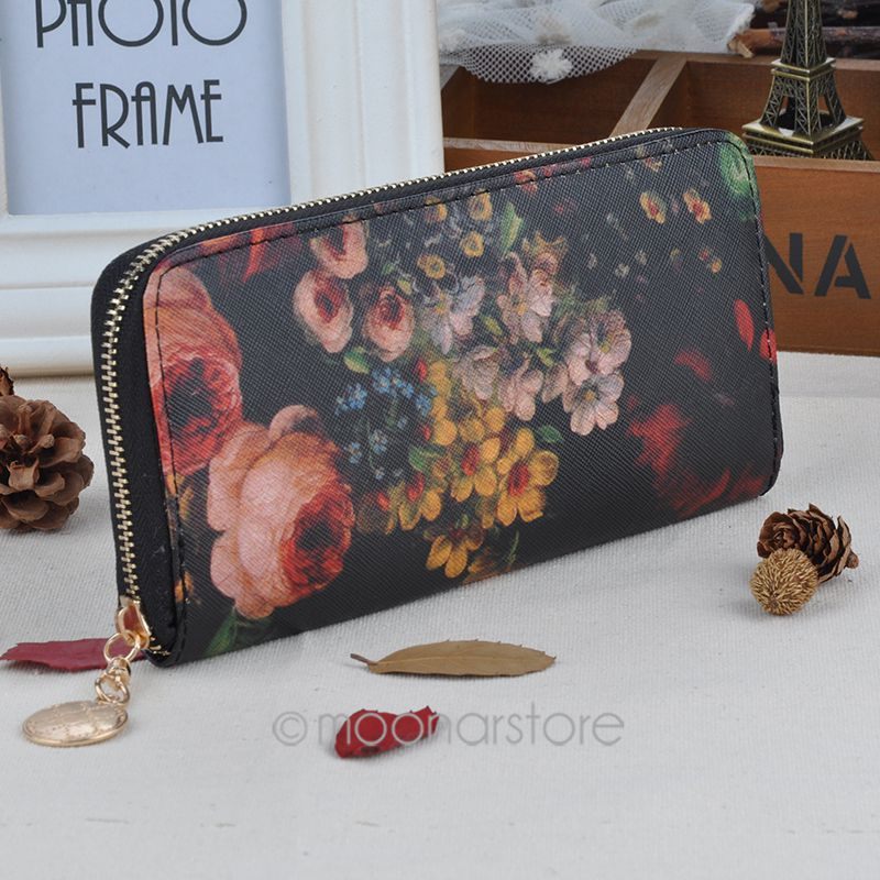 1 Piece Free Shipping New Hot Fashion Selling Women Purse Lady Oil Painting Long Clutch PU Leather Wallet(China (Mainland))