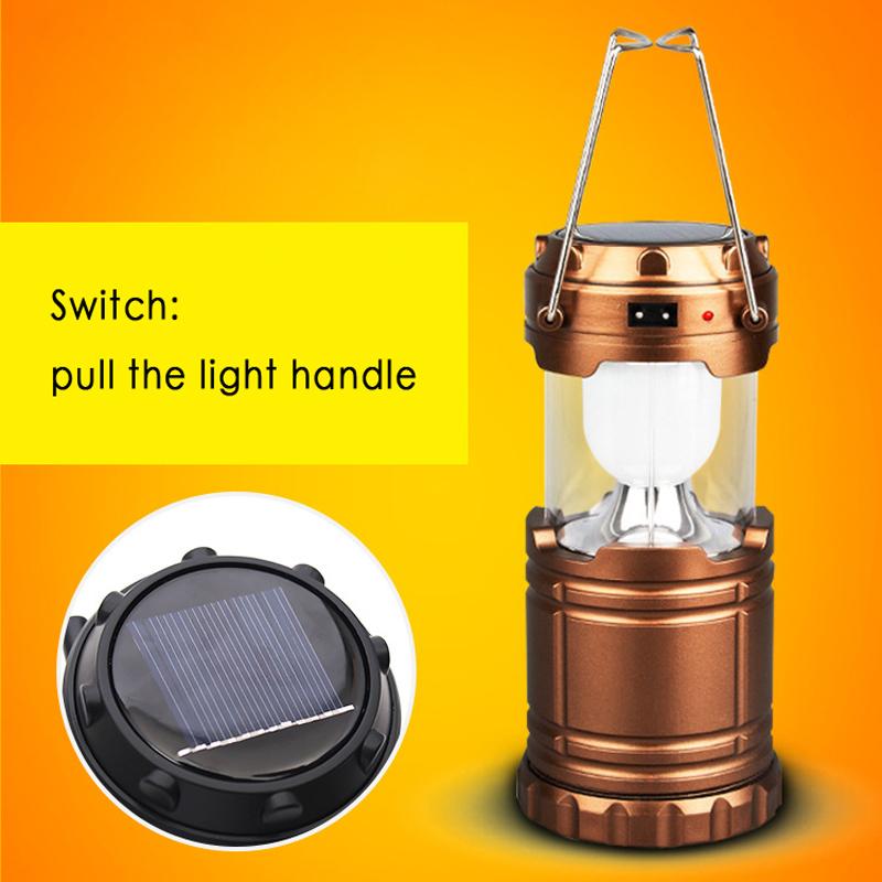 Led solar charging lamp outdoor Hanging telescopic camping tent portable emergency barn lantern(China (Mainland))