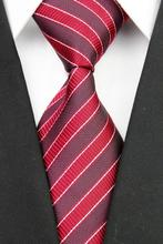 NT0046 Red Black Stripe Smooth Luxury Jacquard Woven Classic Elegant Silk Polyester Man s Business Wedding