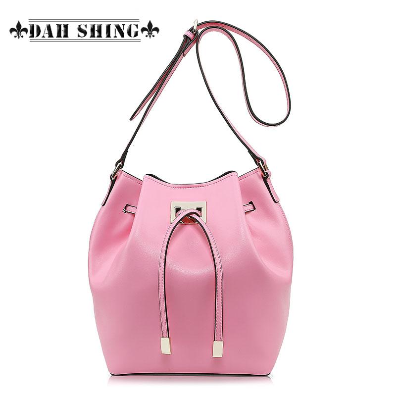 Spring fashion Pink/sky blue women's messenger bag 100% Genuine leather bucket bag small drawstring drum-shaped handbag handmade(China (Mainland))