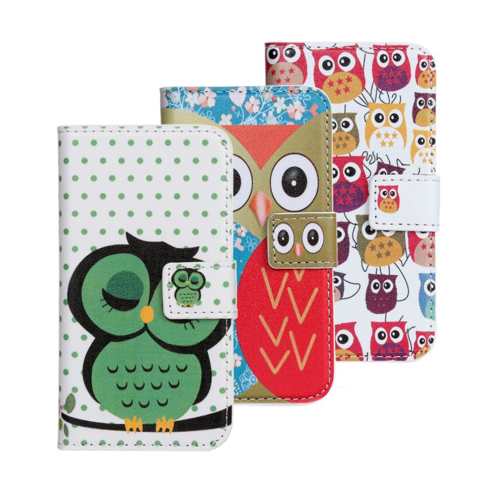 Cute Owl Wallet Leather Case Samsung Galaxy S4 Mini i9190 Mobile Phone Bag Fundas Samsung S4 Mini Cases Cover Coque