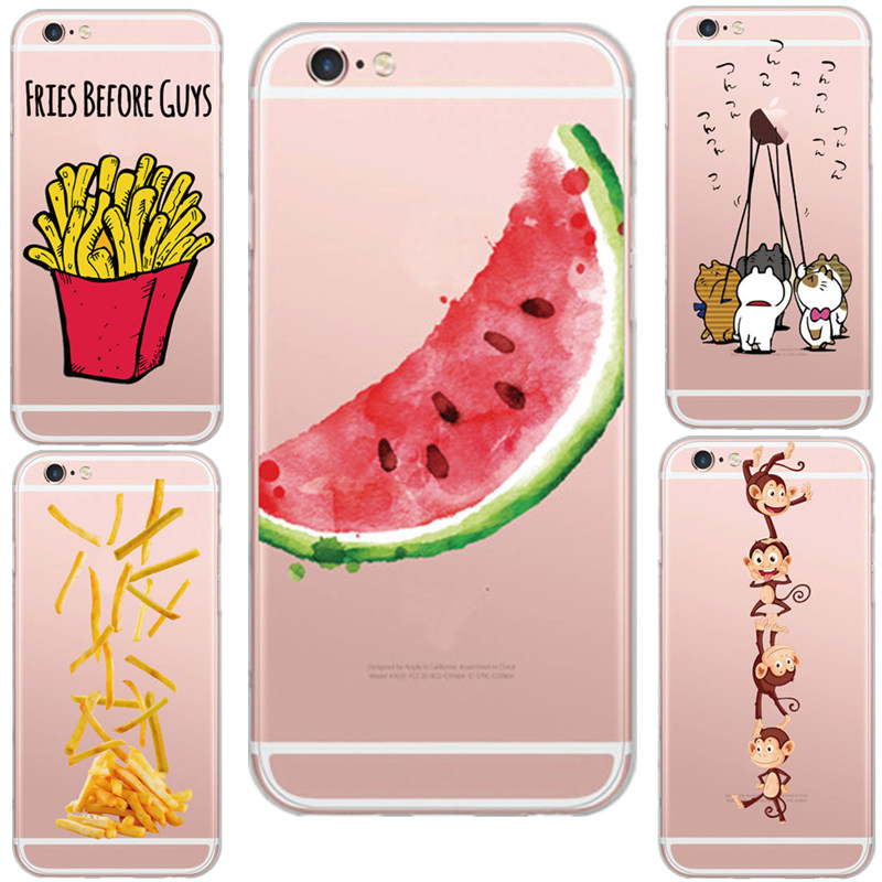 Cool Animal Style French Fries Watermelon Monkey Design Transparent Phone Shell Case Cover For Apple iPhone 6 6S 5 5S Fundas(China (Mainland))