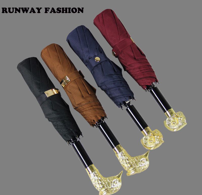 Runway Fashion 2014 Ladies Male British Style High Class Gold Animal Owl Fox Phoenix Handle