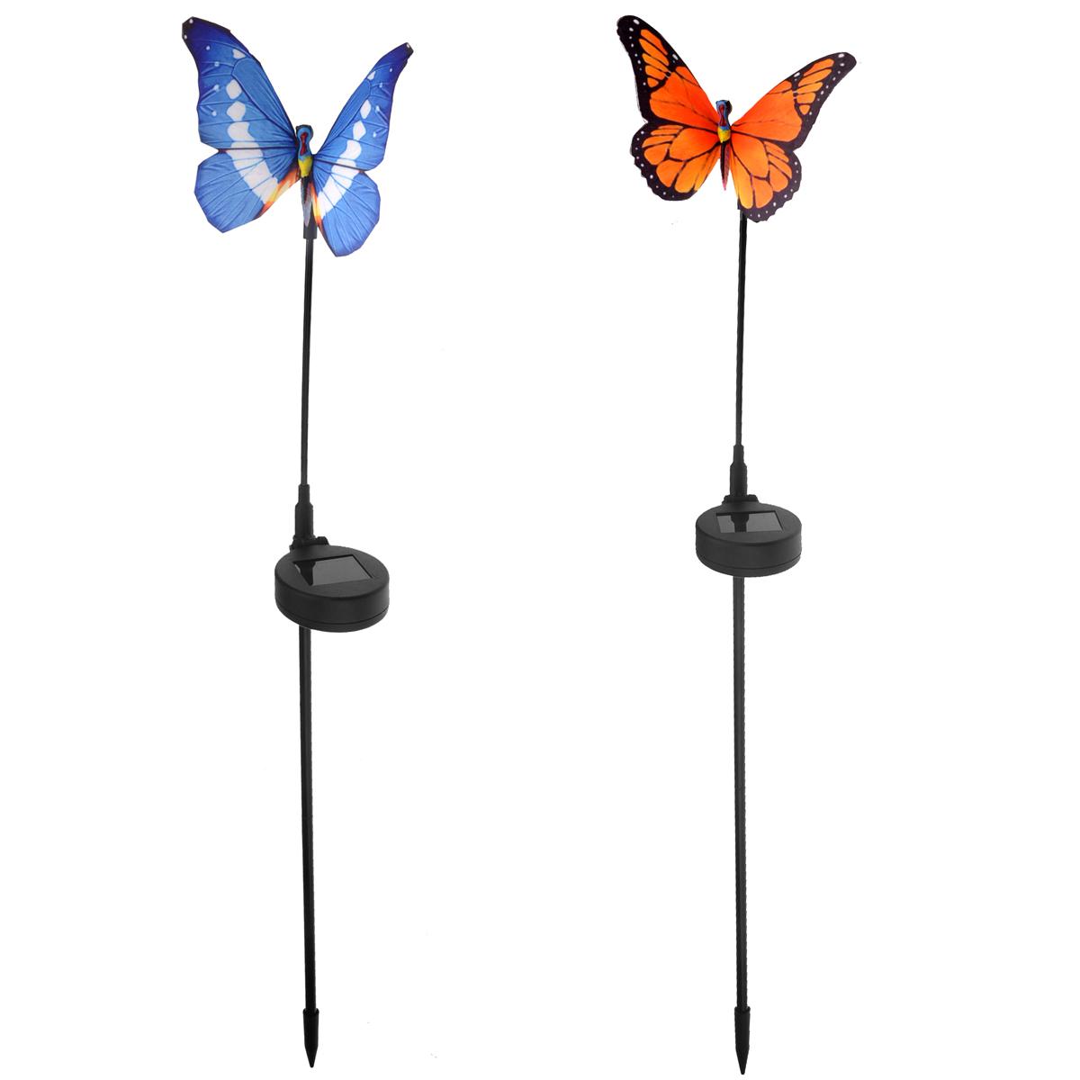 2pcs Waterproof Solar Power RGB Color-changing LED Fiber Optic Butterfly Lights LED Garden Lamps (Random Color)
