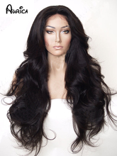 Fashion Hot Selling Long Bouncy Soft Bodywave Natural Black Heat Resistant Hair Synthetic Lace Front Women Wigs/Flora-22.3M(China (Mainland))