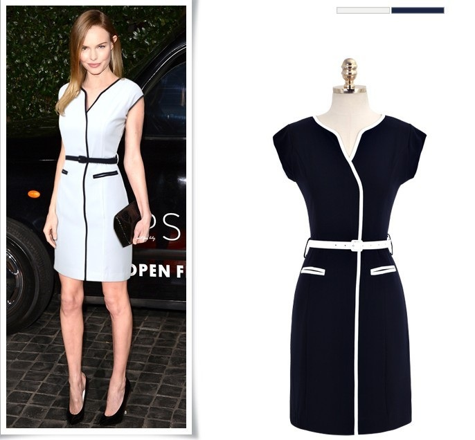 2014 Spring Summer Girl Vintage Swan Wrap-Over Collar Evening Party Casual Dress White black S-XL D0234(China (Mainland))