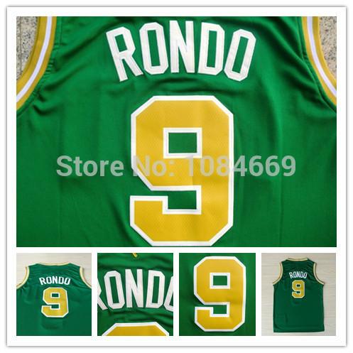 Hot sale cheap Boston #9 RONDO men basketball jersey USA Authentic REV 30 Embroidery Logos Men's Basketball Jerseys(China (Mainland))