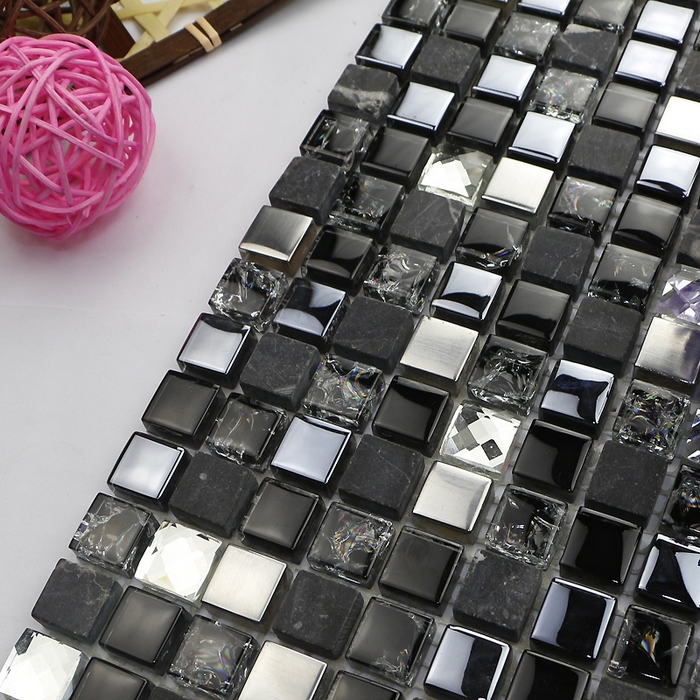 hor smal square black glass mixed diamond and metal mosaic tiles kitchen backsplash tile bathroom shower fireplace hallway<br><br>Aliexpress