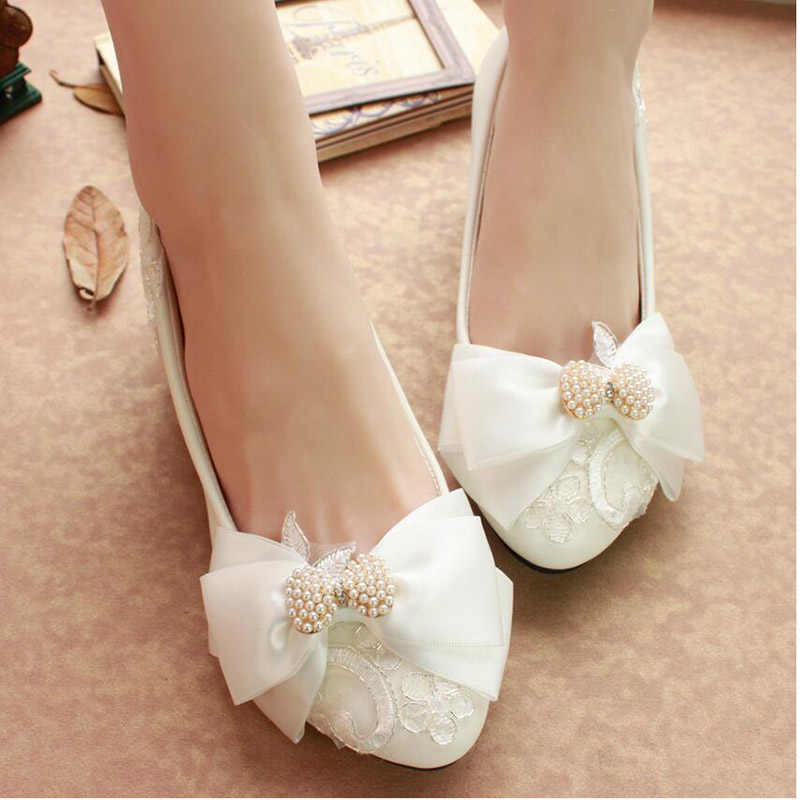Kitten Heels Bowtie Round Toe Soft White Pearl Wedding Shoes Ribbons Hot Selling Low Cut Uppers Comfortable Cuban Heel Bridal<br><br>Aliexpress