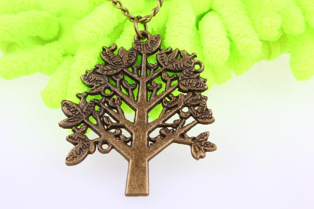 5pcs/lot Bronze Tree necklace--Wisdom tree pendant, antique bronze necklace,tree jewelry,alloy chain(China (Mainland))