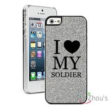 For iphone 4/4s 5/5s 5c SE 6/6s 7 plus ipod touch 4/5/6 back skins mobile cellphone cases cover Glitter Bling I Love My Soldier
