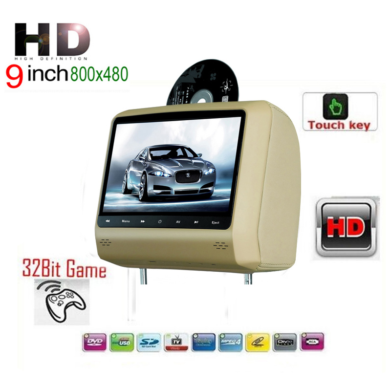 "Car Headrest DVD Player 9"" Touch Key USB Game IR Headset For Renault Opel Nissan(China (Mainland))"
