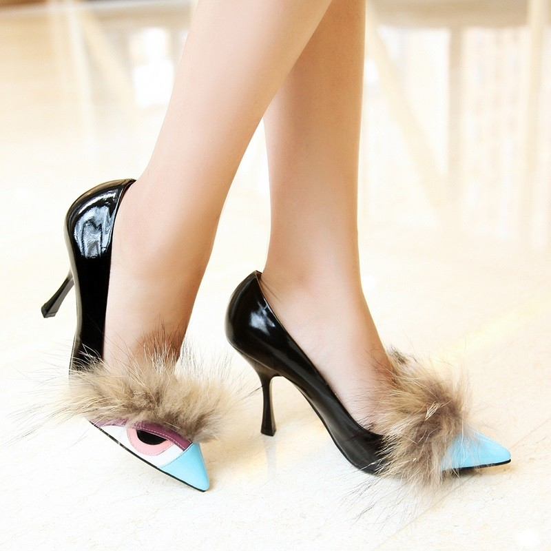 Women High Heel Shoes Novelty New Shoes 2015 Spring Summer Red /Blue /Yellow Genuine Leather Women Shoes 33-40 All-match Shoes