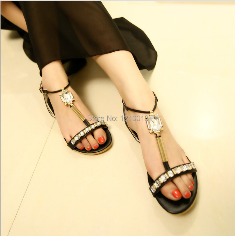 Summer new peep-toe flat sandals, women diamond inlaid sandals, princess shoes, flat sandals, single shoes 051518<br><br>Aliexpress