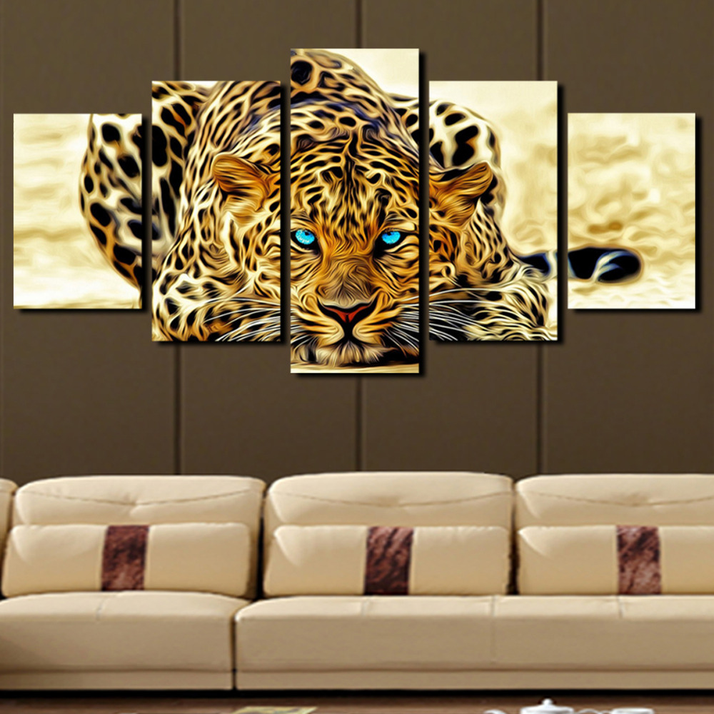 5 plane abstract leopards modern home decor wall art canvas animal picture print painting set of Home decor wall art contemporary