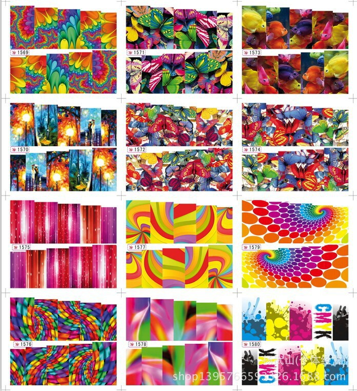 Hot Large 12 DESIGNS IN 1SET 1569 1580 Fashion Water Transfer Nail Art Stickers Decals Nail