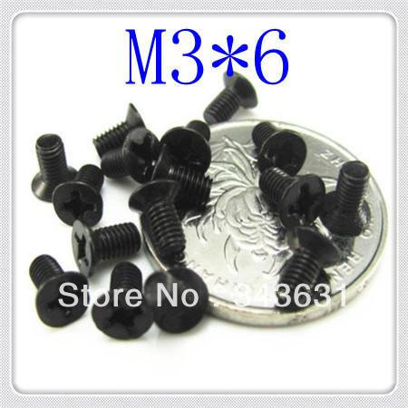 High Quality  DIN965 Steel With black M3*6  Phillips Flat Head Machine Screw<br><br>Aliexpress