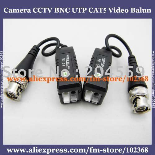 10pcs Camera CCTV BNC UTP CAT5 Video Balun Twistered Pair Transceiver Cable AT-C12-19(China (Mainland))