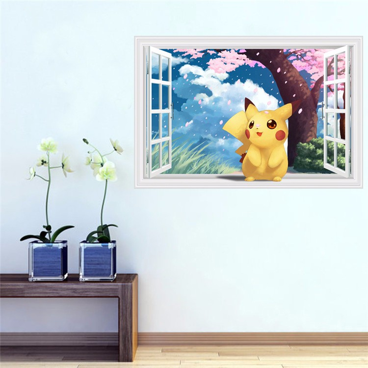 New arrival Pokemon go Wall Stickers for Kids Rooms Home Decorations Pikachu Wall Decal Amination Poster Wall Art  Wallpaper