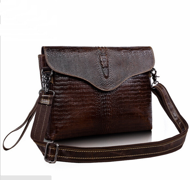Real Genuine leather men bag New fashion crocodile leisure men's hand bag shoulder bags Day clutch ipad bags men's briefcase(China (Mainland))