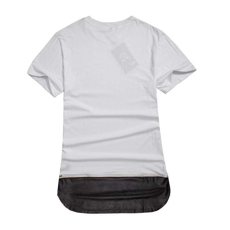 2016harem T Shirt Men Zipper Leather Gold Long Extended Swag T ...