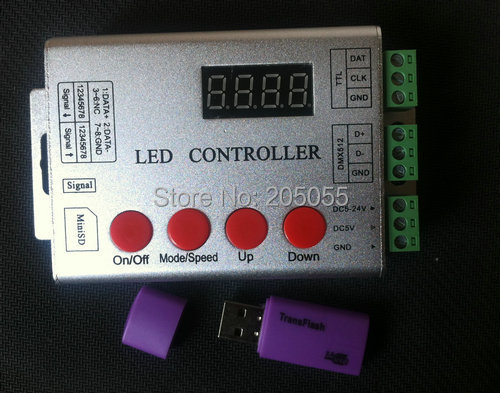 wireless SD card pixel programable LED Full color digital controller 5-24V for WS2811 ws2801 LPD8806 WS2812 DMX led strip(China (Mainland))