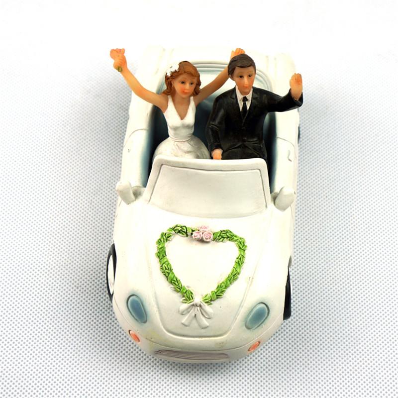 Элегантный Свадебный автомобиль невесты и жениха Свадебные Топперы пару статуэтка смешной торт Топпер для свадебного торта украшение