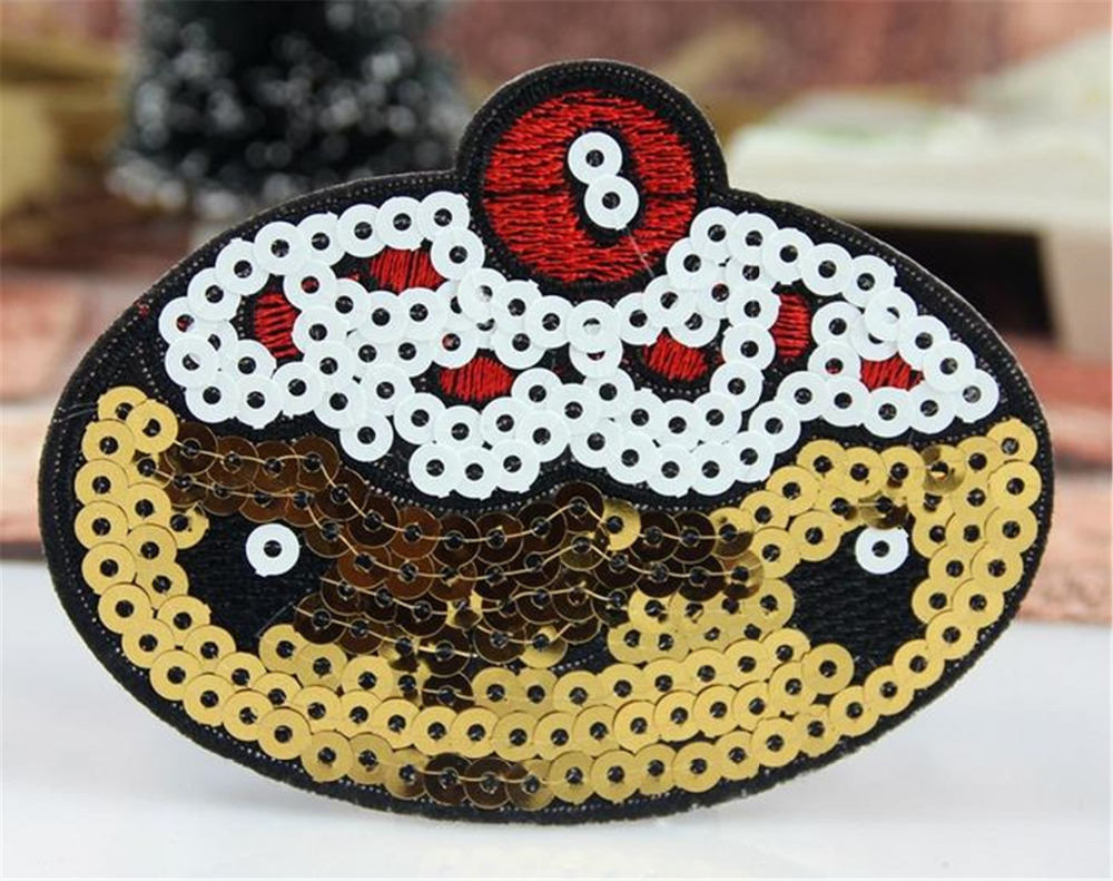 Patch fashion new pumpkin sequins embroidered iron on patches for clothes deal with it clothing patchwork fabric free shipping(China (Mainland))