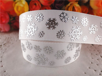 "New arrival 7/8"" (22mm) silver foil grosgrain ribbons white snowflake ribbon hair accessories 10 yards SD1138"