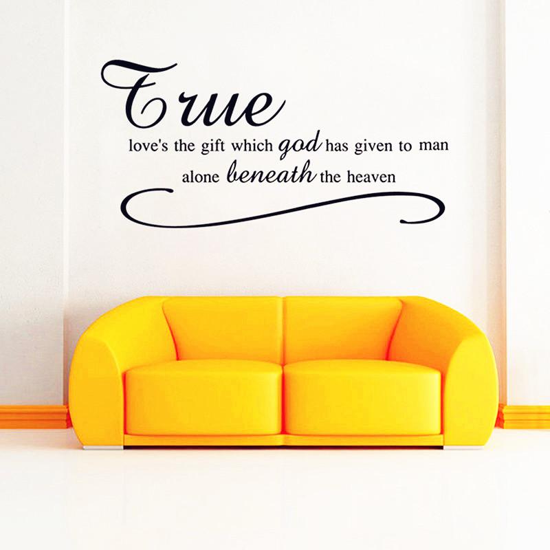 """True Love's..."" Words Quotes Wall Decals Modern Style Creative Design Home Decor 3D Sticker Baby Bedroom Wall Art Decoration(China (Mainland))"