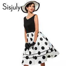 Buy Sisjuly vintage dresses parthwork Elegant Sleeveless A-Line Knee Length Dress Color Block Polka Dots Plaid Women Vintage Dress for $19.03 in AliExpress store