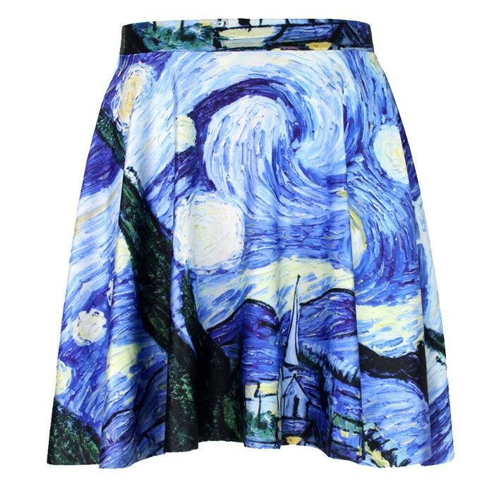 Olso knitting harajuku digital printing Oil Painting cool pattern wholesale and retail hot sale lowest price sexy female skirts(China (Mainland))