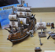 FD1944 Puzzle DIY 3D Pirate Boat Ship Jigsaw Puzzle Child Toys Model Ship ~124 Pieces G(China (Mainland))