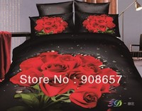 black red rose flower 500TC 3D bed in a bag oil painting bedding set girls cotton quilt/duvet covers full queen SZ comforter set