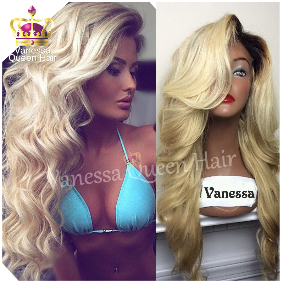 top quality two tones synthetic lace front wig black blonde ombre hand tied wavy wigs dark roots. Black Bedroom Furniture Sets. Home Design Ideas