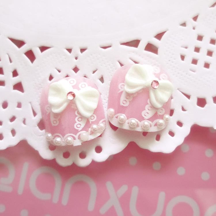 Manicure finished fake nails patch cute Manicure J1 glue 24pcs/set toenails(China (Mainland))