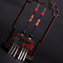 Chines Wind embroidery wood dangle earrings,fashion vintage dangle earrings,Tibetan Silver plated ethnic earrings(China (Mainland))