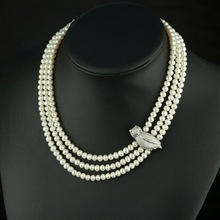 Buy Multistrand Natural Pearl Choker 100% Real Freshwater Small Pearl Necklace 3 Rows Necklace 925 Silver Owl Women Jewelry for $99.00 in AliExpress store