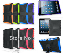 Dual Armor Hybrid TPU&PC case For iPad Air with Stand Case For iPad 5 Protective Skin Double Color Shock Prooffor(China (Mainland))
