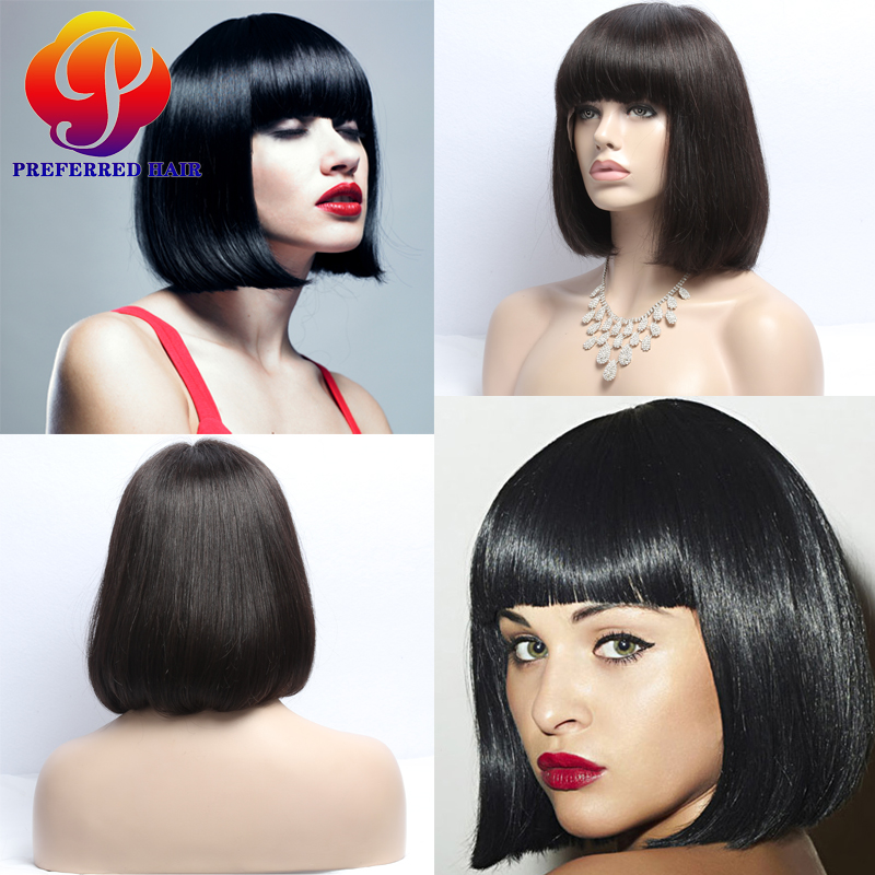 Фотография 7A Layered Human Hair Bob Wigs Affordable Full Lace Wigs Short Bob Wigs With Bangs Lace Front Bob Haircuts Wigs For White Women