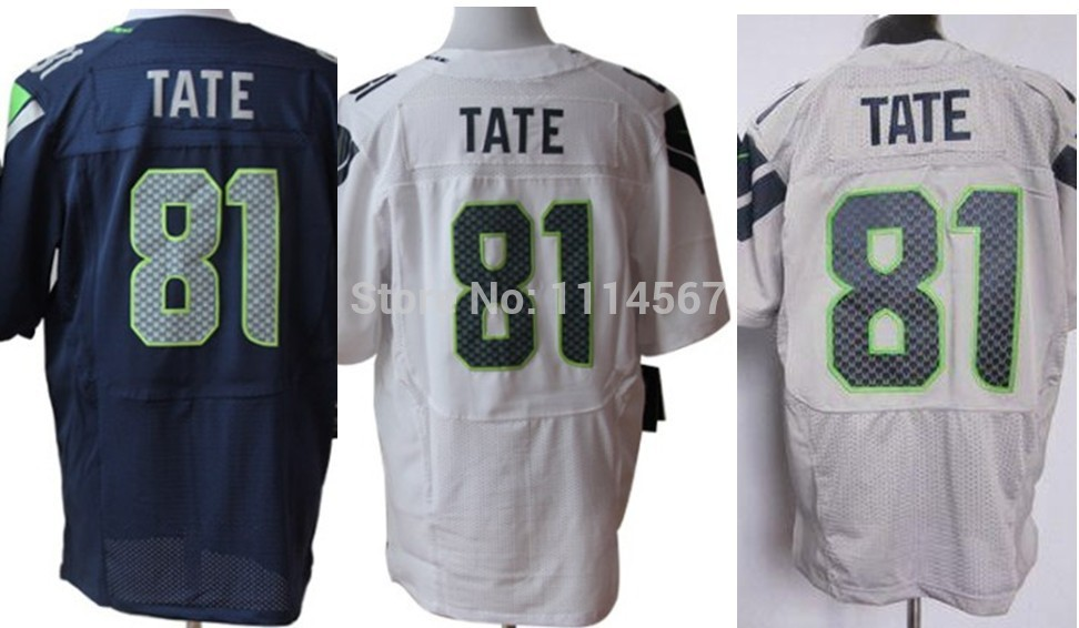 Best Seller Low Price Seattle 81 Golden Tate Jersey Blue Gray White American Football Jerseys Wholesale(China (Mainland))