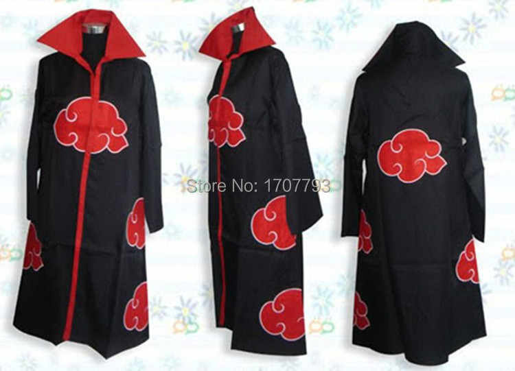 Free Shipping Hot Selling naruto cosplay costume Naruto Akatsuki /Uchiha Itachi Cosplay Cloak Hooded Plus Size (S-2XL) WA305(China (Mainland))
