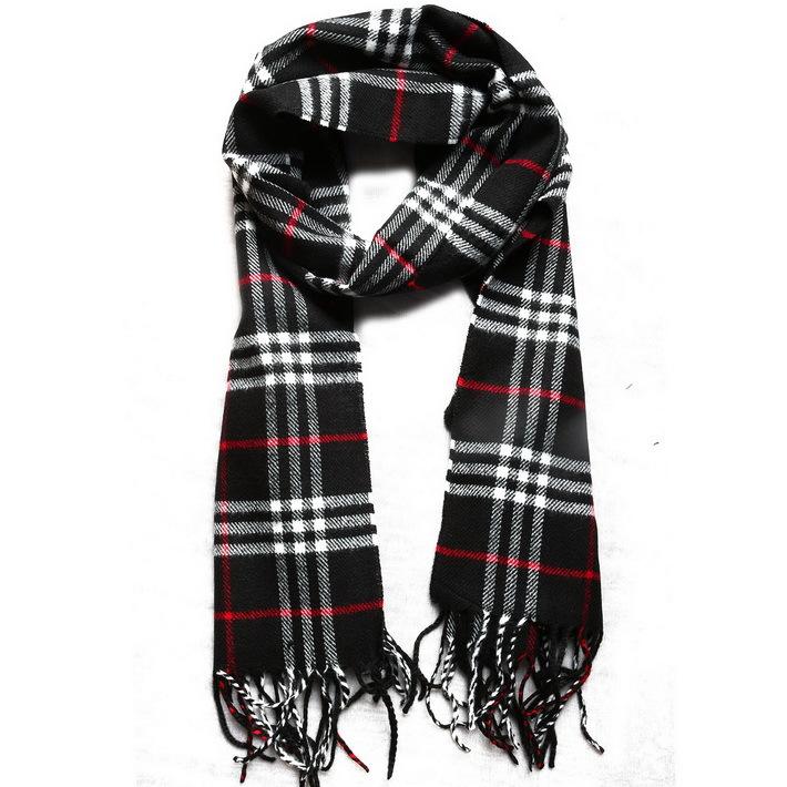 80168 New 2014 Fashion Mens Womens Scarves Designer Striped Plaid Warm Soft Tassel Long Black Scarf Winter(China (Mainland))