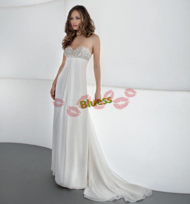 Fairy Elegant Beach Custom Made Beading Sweetheart Sleeveless Lace Up Floor-Length Chiffon and Satin Wedding Dresses(China (Mainland))