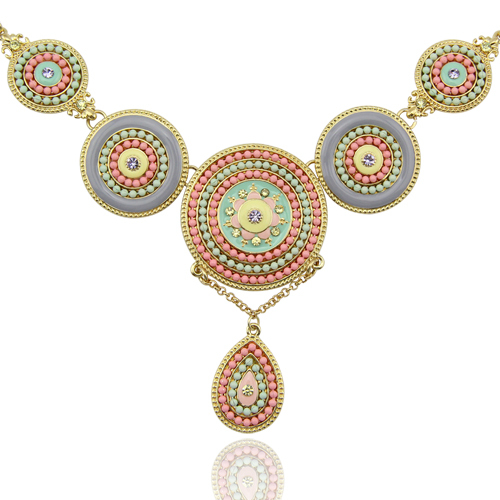 Free Shipping New Arrival Women Romantic Ethnic Gold Plated Round Resin Bohemia Pendant Necklace Jewelry
