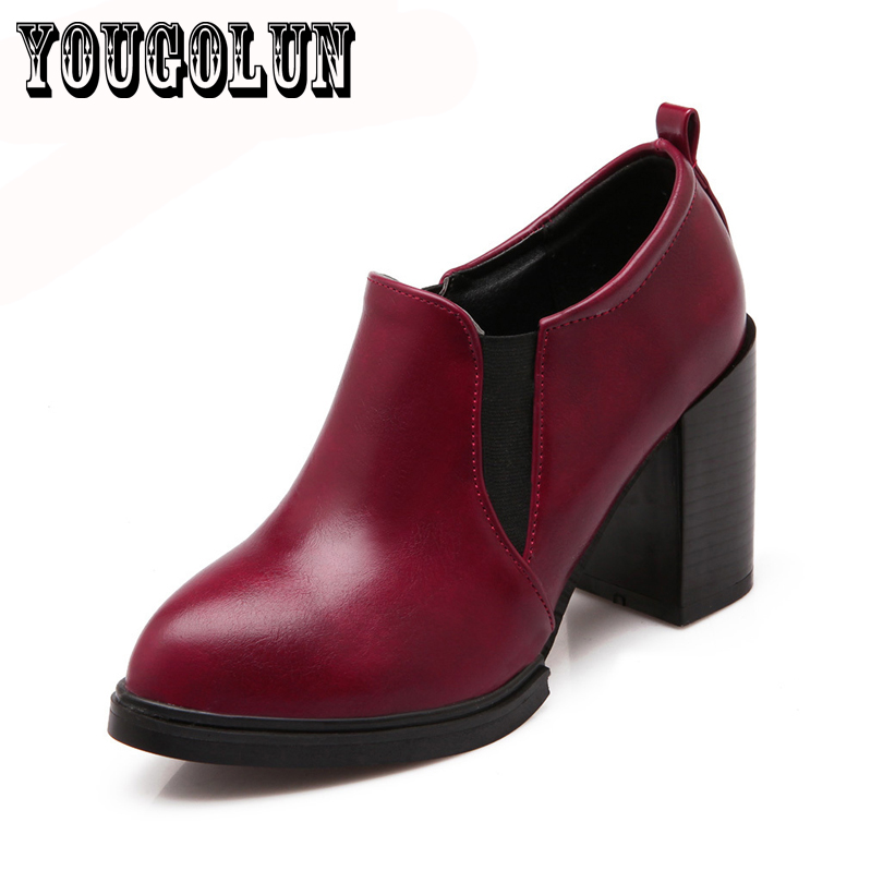 PU leather thick high heels sapatos dress women shoes,2015 Spring fashion work shoes pointed toe shoes oxford shoes for woman<br><br>Aliexpress