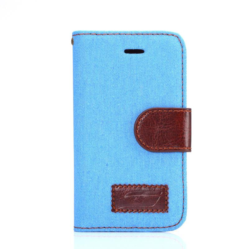 Cell Phone Protective Cover Cases with Stand Card Holder Jean Fabric Leather Case for Samsung Galaxy Ace 4 NXT G313 G313H(China (Mainland))
