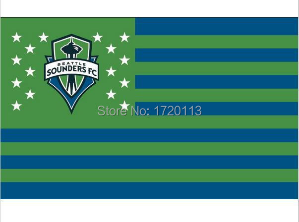 Seattle Sounders Large Outdoor Nation Baseball Flag 3X5FT Custom Flag 90x150cm white sleeve with 2 Metal Grommets(China (Mainland))