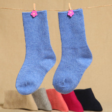 6 pairs/lot Children Socks Kids Boys and Girls Seamless Wool Solid Color Socks Thick Warm Relent Baby Socks 0-6 Years Old(China (Mainland))